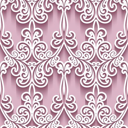 arabesque pattern: Ornamental background with cutout paper swirls, swirly seamless pattern Illustration