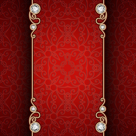 diamond texture: Vintage gold frame with jewelry borders on ornamental red background