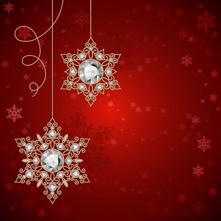 navidad elegante: Vintage copos de nieve de joyas de oro con diamantes sobre fondo rojo, la decoración de Navidad, Navidad o Año Nuevo modelo de tarjetas de felicitación