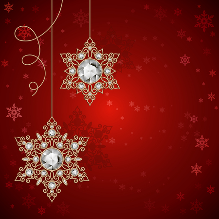 Vintage gold jewelry snowflakes with diamonds on red background, Christmas decoration, Christmas or New Year greeting card template