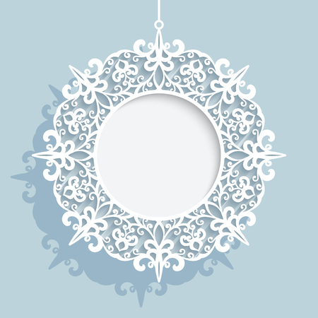 Christmas decoration, cutout paper swirls in shape of Christmas ball, lace doily, ornamental round frame template