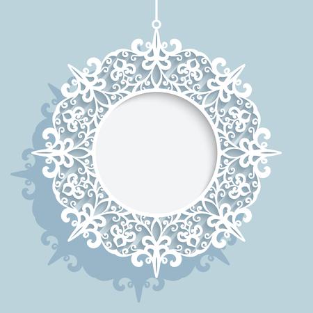 encaje: La decoración de Navidad, remolinos de papel recortado en forma de bola de Navidad, tapete de encaje, la plantilla del marco ornamentales ronda