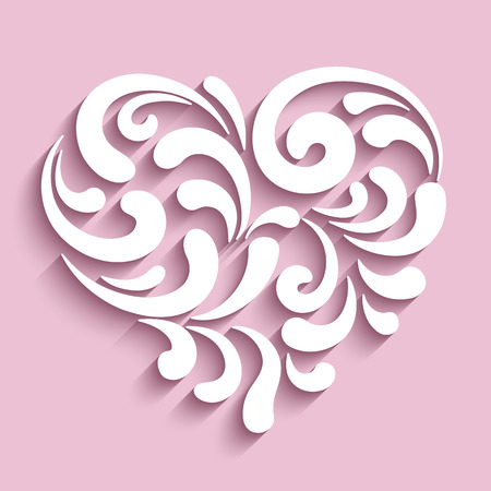 Ornamental heart with cutout paper swirls, swirly heart icon
