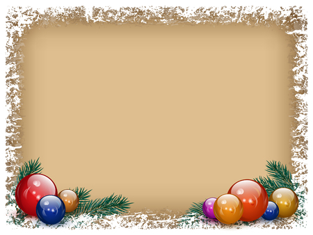 rectangle: Christmas background in retro style, vintage greeting card with colorful decorative balls and evergreen twigs, winter frame with Christmas decoration
