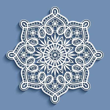 Paper lace doily, decorative snowflake, mandala, round crochet ornament