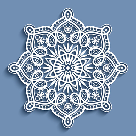 Paper lace doily, decorative snowflake, mandala, round crochet ornament