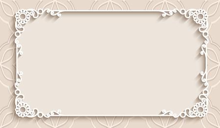 svatba: Obdélník krajky rám s výřez papírové dekorace, blahopřání či svatební oznámení šablony Ilustrace