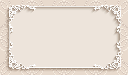 Rectangle lace frame with cutout paper decoration, greeting card or wedding invitation template