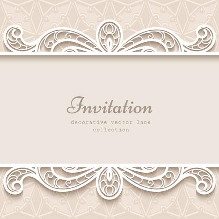 Vintage background with paper lace border decoration, divider, header, ornamental frame template