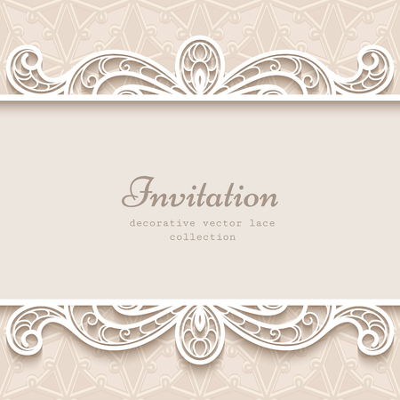 Vintage background with paper lace border decoration, divider, header, ornamental frame template