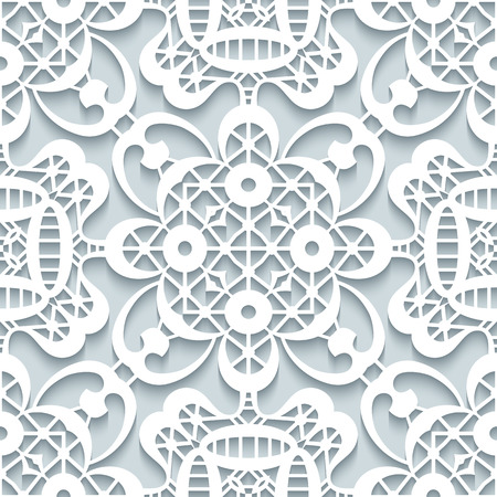seamless damask: Cutout paper ornament, lace texture, seamless lace pattern in neutral colors Illustration