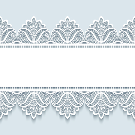 Vintage frame with seamless lace border ornament, merry Christmas background, elegant greeting card or invitation template