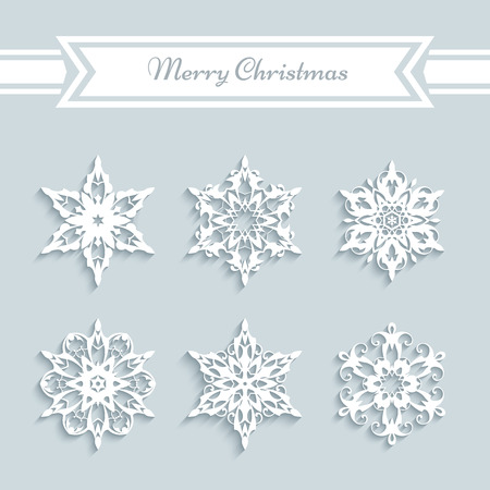 cutout paper snowflakes set of snowflake icons christmas decoration stock vector 48900966