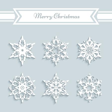 snow white: Cutout paper snowflakes, set of snowflake icons, Christmas decoration