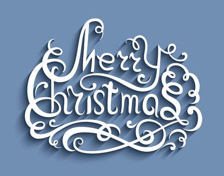 embellishment: Merry Christmas lettering, Christmas greeting card, hand drawn calligraphic design element with flourishes in retro style, cutout paper embellishment