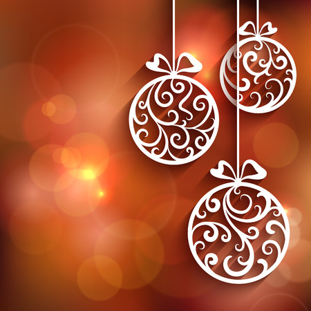 cut: Ornamental Christmas balls with paper swirls, decorative background