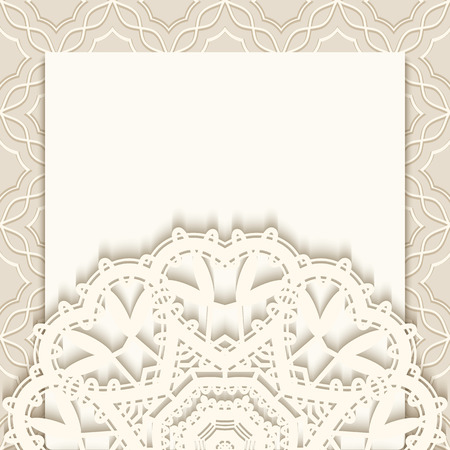 Elegant greeting card with lace decoration, vintage wedding invitation or announcement template 向量圖像