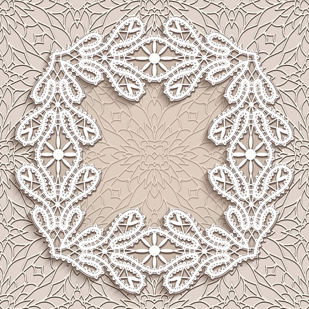 tatting: Vintage square lace frame, lace decorative vignette in retro style, embroidery, crochet lace ornament, greeting card or invitation template Illustration