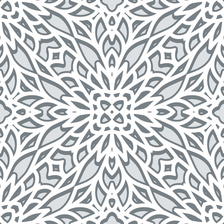 neutral: Abstract grey ornament, seamless pattern in neutral color