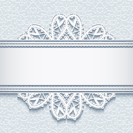 tatting: Elegant background with ornamental lace border, decorative lace frame, greeting card or invitation template