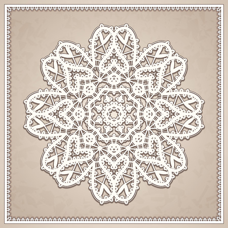tatting: Vintage lace doily, decorative lacy snowflake, mandala, round crochet ornament in retro style