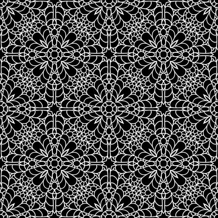 encaje: Resumen negro y adornos en blanco, la textura de encaje, negro y blanco patrón transparente