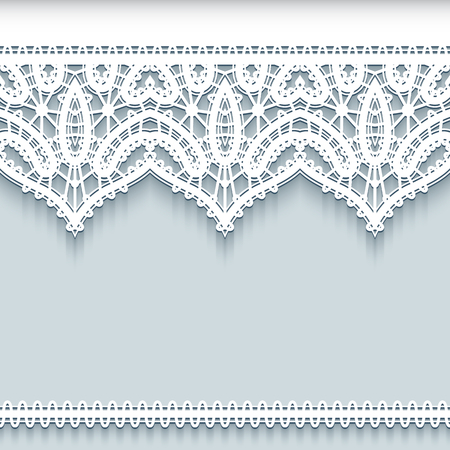 Paper lace background, ornamental frame with lacy borders, save the date card or wedding invitation template Illustration