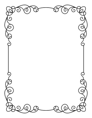 Calligraphic rectangle frame, simple frame ornament, decorative design element in retro style, certificate or invitation template on white