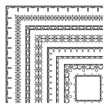 bordado: Conjunto de esquinas de encaje, bordes simples, ornamentos bordados en blanco