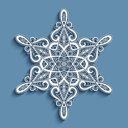 Paper lace doily, decorative snowflake, mandala, round lacy ornament Illustration