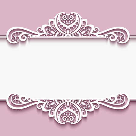 Elegant cutout paper frame with lace border ornament, greeting card or invitation template,