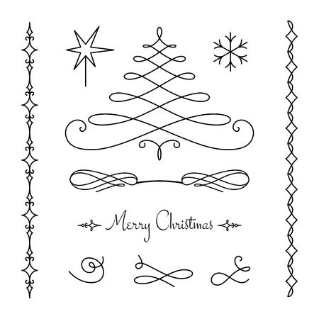 decoration style: Set of calligraphic decorative elements, simple vignettes, flourishes and borders on white, page decoration template, scroll embellishment in retro style for Christmas design