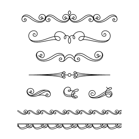 Set of vintage calligraphic vignettes, flourishes, decorative borders and divider elements in retro style, scroll embellishment on white