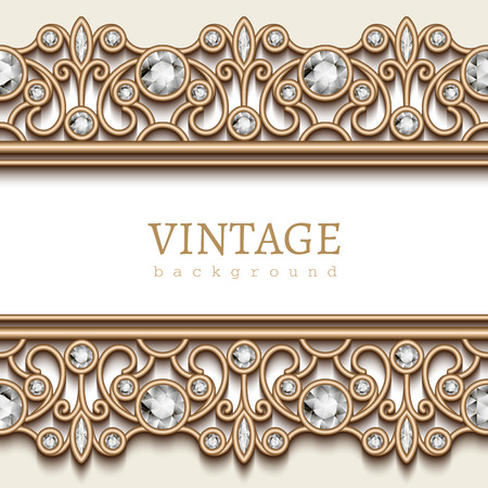jewelry background: Vintage gold jewelry background, jewellery frame with seamless border ornament on white Illustration