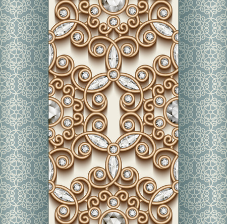 filigree border: Vintage gold ornament, jewelry seamless pattern with diamonds