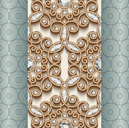 Vintage złota ozdoba, biżuteria szwu z diamentami