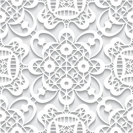 lace pattern: Cutout paper ornament, white lace texture, seamless lace pattern Illustration