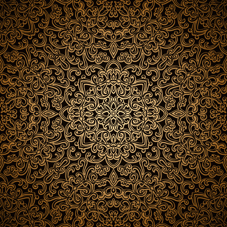 lattice: Vintage gold background, dark background with swirly lattice ornament, seamless pattern Illustration
