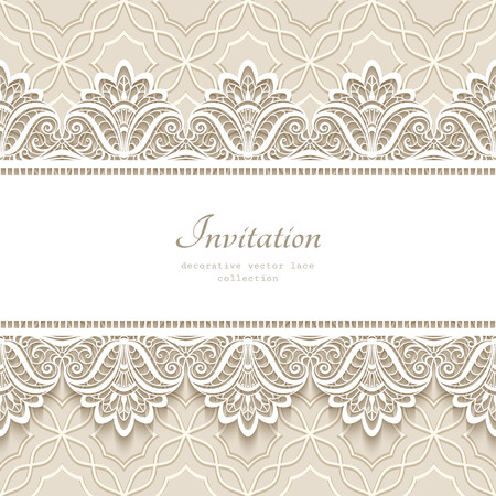 Vintage lace background with seamless border ornament, elegant greeting card or wedding invitation template Vettoriali