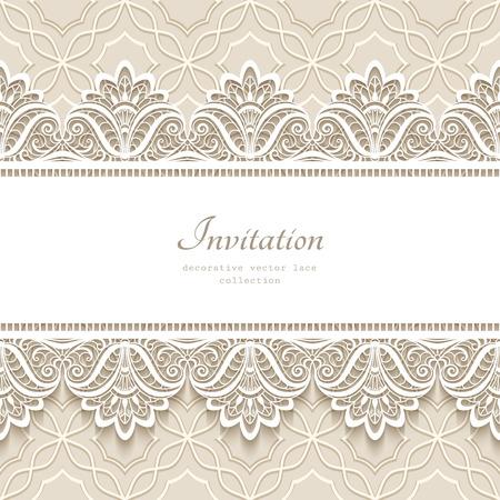 Vintage lace achtergrond met naadloze grens ornament, elegant wenskaart of bruiloft uitnodiging template