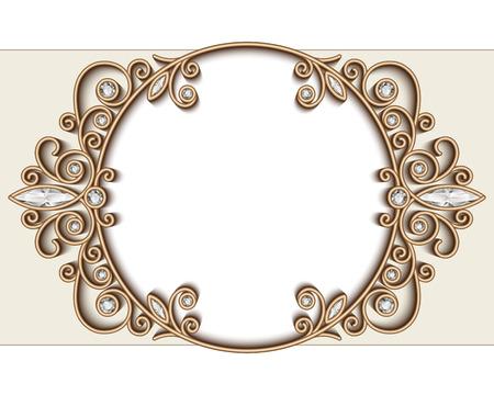 Fondo de la vendimia joyas de oro, diamantes viñeta, elegante círculo ornamento, marco de la joyería