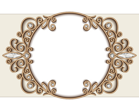 diamond background: Vintage gold jewelry background, diamond vignette, elegant circle ornament, jewellery frame Illustration