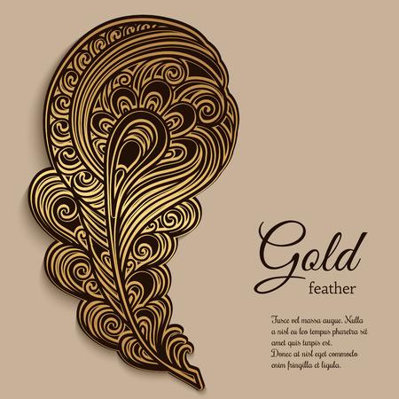 Uitstekende gouden sier veer, swirly decoratief element Stock Illustratie