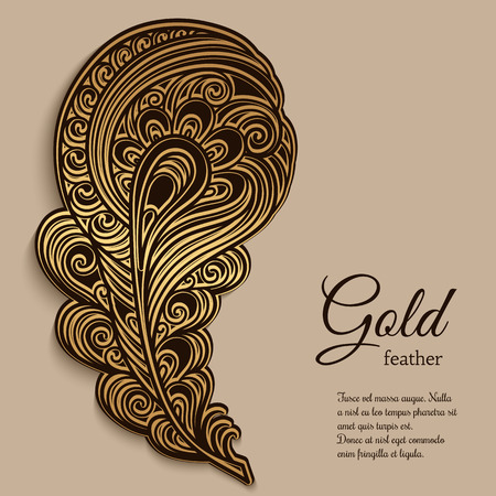 curly tail: Vintage gold ornamental feather, swirly decorative element