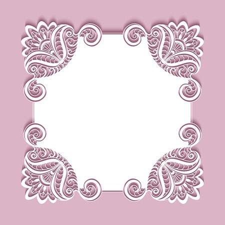 Square paper lace frame, lacy doily, greeting card or wedding invitation template