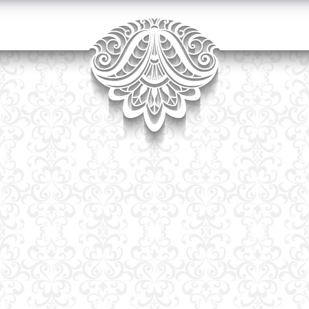 Decorative background in neutral color, elegant greeting card, wedding invitation or announcement template with lace decoration on white pattern Ilustração