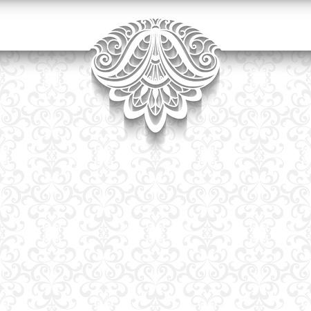 Dekorative Hintergrund in neutralen Farben, elegante Grußkarte, Hochzeitseinladung oder Mitteilungsschablone mit Spitze Dekoration auf weißem Muster Illustration