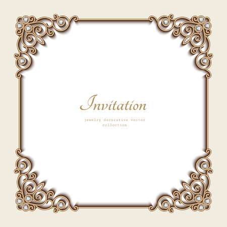 jewelry design: Vintage gold background, elegant square frame, invitation template, antique jewelry vignette