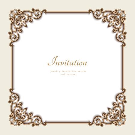 Vintage gold background, elegant square frame, invitation template, antique jewelry vignette