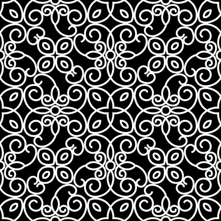 Abstract swirly ornament, lace texture, black and white seamless pattern Illustration